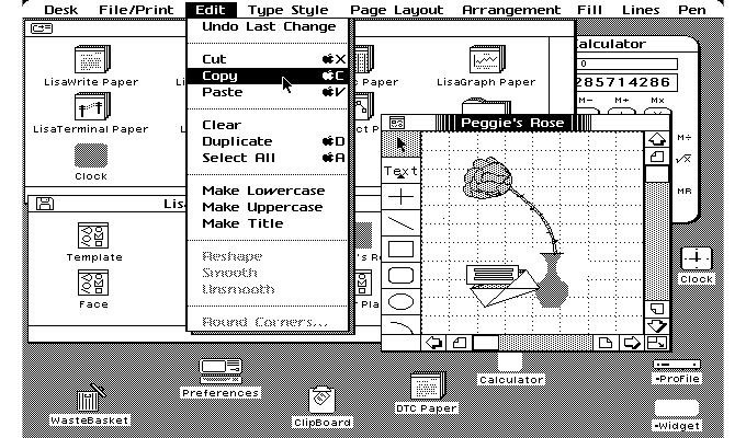 Interfaz de la Apple Lisa 1983