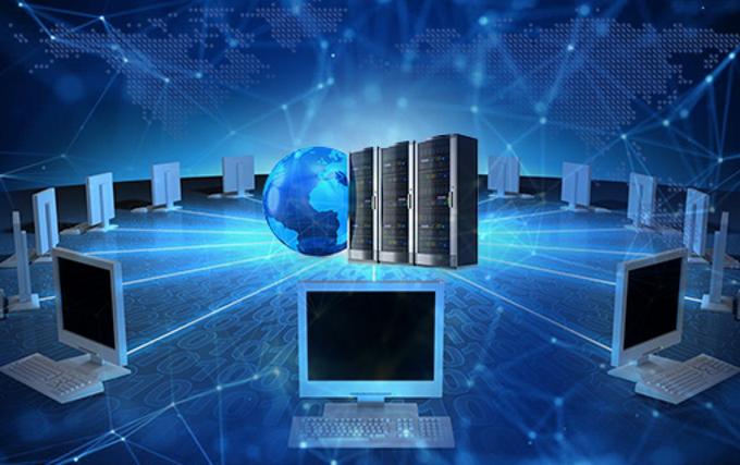 ilustración de computadoras en red